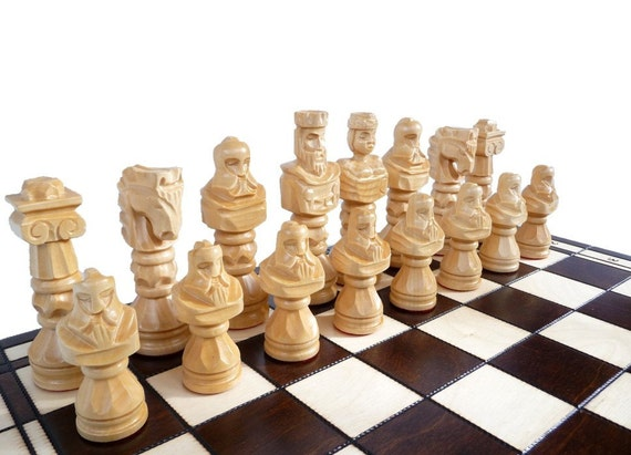 Unique Large Wooden Chess Set 100 Handmade By Stylishchess