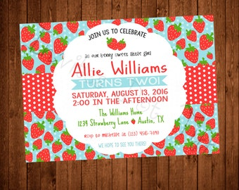 Cute Strawberries Birthday Party Invitation (Printable)