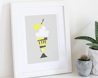 Ice Cream Sundae Print, Kitchen Print, Kitchen Wall Decor, Wall Art, Knickerbocker Glory, Secret Santa, Mid Century Style, Poster Kitchen