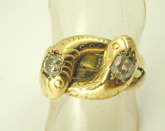 Antique Victorian double Snake ring diamond 0.35cts 18ct gold 1880s size S 9.3g