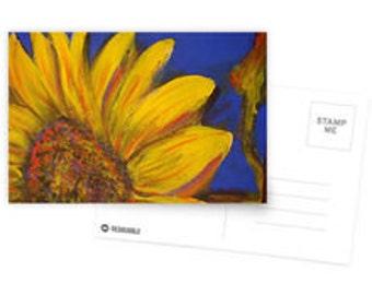 Greetings  Postcard Sunflower on Blue