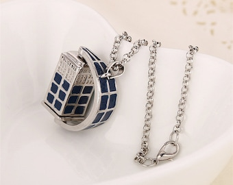 Rotating tardis police box vintage blue and silver pendant