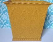 Retro waste basket, gold trash can, mustard yellow, retro trash can, retro, mid century, trashcan, Max Klein,