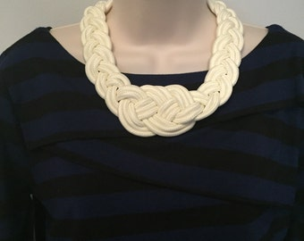 White Nautical Knotted Braided Rope Sailor Knot Statement Necklace