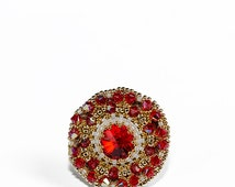 Little embroidered by hand brooch with Swarovski crystals Elegant red gift idea for her Golden white and red colours Round broches