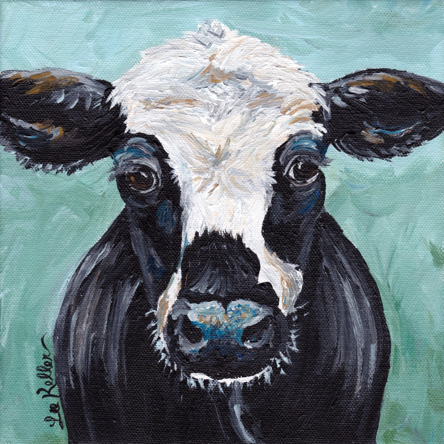 Cow art print cow decor from original canvas cow by for Cow painting print