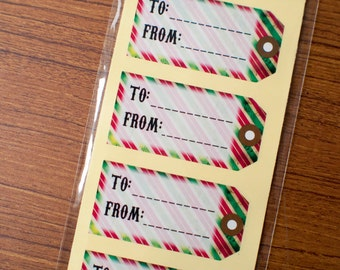 christmas gift sticker tags - To From