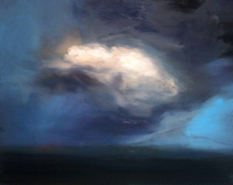 Beautiful original oil painting of clouds