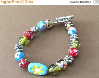 Clearance 50% Off Glass Bead Bracelet 7 1/4""