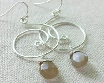 Peach Moonstone Earrings, Swirl Earrings, Wire Wrapped Moonstone Earrings