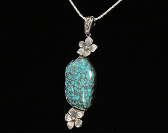 "Chinese Spiderweb Turquoise and Sterling Silver Pendant, 17 carat, 18"" Chain"