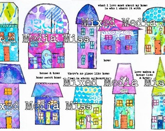 Funky Whimsical Houses 2 - Collage Elements Mixed Media digital download - Art Journal - Scrapbooking