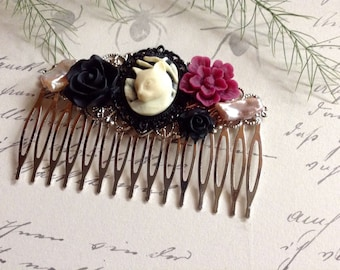 Comb Cranberry And Black cat And Flower Hair Accessory