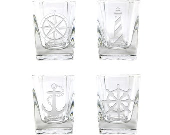 Nautical Shot Glasses / Set of 4  / Anchor and Ships Wheel Shot Glasses / Free Personalization / Etched Shot Glass