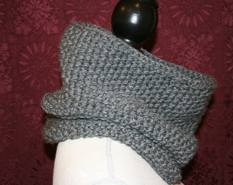 Hand Knit Grey Cowl / Snood  / Grey Infinity Scarf /Knitted Cowl