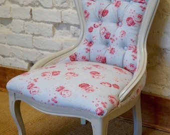 A mid 20th Century Antique Occasional Chair in PEONY and SAGE