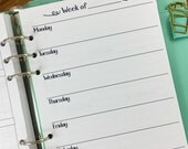 A5 Week on One Page printed planner insert - Wo1P - weekly pages - undated - graph paper - this week - #144
