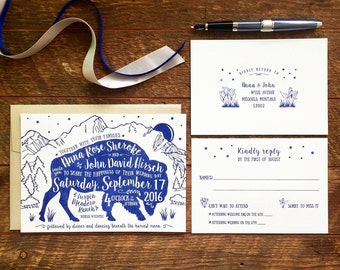 Bison Wedding Invitation, Rustic Wedding Invitation, Letterpress Wedding Invitations