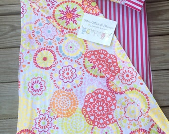 Kindermat covers with attached blanket and pillowcase. Flowers with chevron or stripe - kindermat covers!