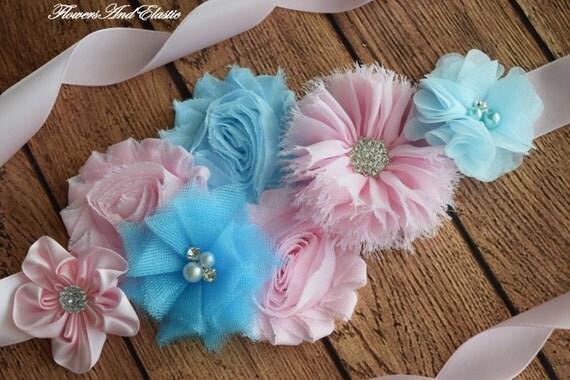Flower Sash, Light pink and light blue Sash , flower Belt, maternity sash, flower girl sash