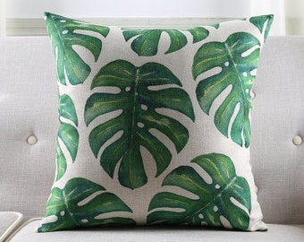 Decorative pillow cover/tropical leaves cushion cover/watercolor pillow throw/pillow sham