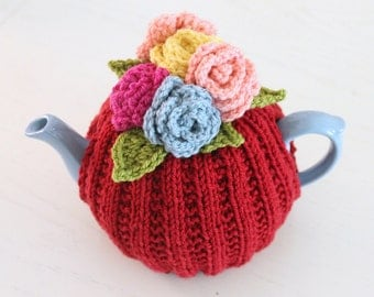 Knit and Crochet Rose Tea Cozy