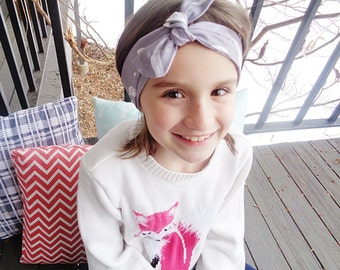 Gray with White Feathers Corduroy Headband