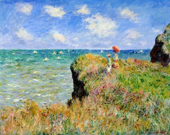 Clifftop Walk At Pourville by Claude Monet, in various sizes, Giclee Canvas Print