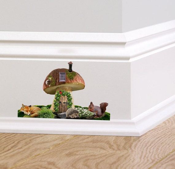 Woodland toadstool fairy door wall decal sticker mural for Fairy door for wall