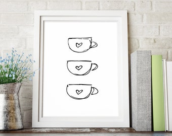 Coffee Decor, Kitchen Art, Black and White Art, Kitchen Decor, Coffee Print, Sketch Art, Printable Art, Minimalist Poster, Instant Download