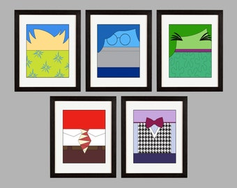 Inside Out Theme. Set of (5) Wall Art Prints. Joy. Sadness. Disgust. Fear. Anger. Shipped to You