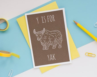 Yak Card Animal Alphabet Card / Animal Alphabet / Blank Greeting Card / Notecard / Animal Card / Yak Birthday Card