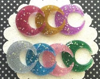 Glitter Moon Shaped Resin Cabochon Mix - 7 pieces - Resin Kawaii Decoden Moon Cabochon