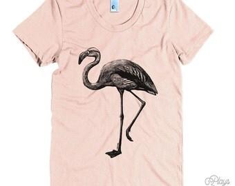 Women's Flamingo Tee - S M L XL Ladies - Black Print, American Apparel T shirt, Flamingo Shirt, Birds, Nature, Animals - 15 Colors