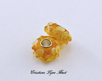 Choose 2 or 5 Murano glass single core beads charm Européan style ! Amber and yellow color