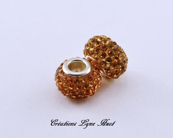 2 or 5 Crystal beads with rhinestone  ! Gold color