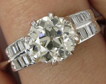 1.78ct Antique Vintage Art Deco Old European Diamond Engagement Wedding Platinum Ring