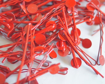 15, 30, 60 pcs Red Color Bobby Pins Hair Clips with 8mm Glue Pad 47mm long
