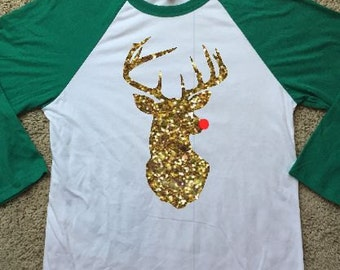 Christmas Rudolph Raglan Shirt with Glitter or Smooth Vinyl