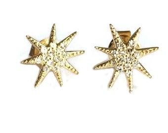 Diamond sunburst earring studs, 14k solid gold sunburst