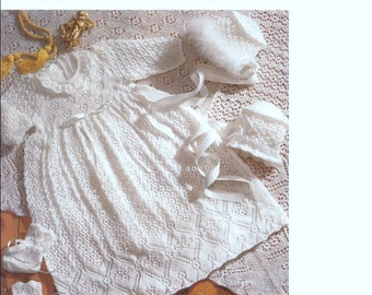 BABY KNITTING PATTERN - Heirloom Baby's Christening robe, shawl, bonnet and booties