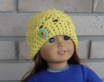 Doll Hat for 18 Inch Doll, Yellow with Flower