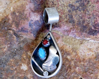 Vintage Navajo Pendant,Turquoise & Coral, Reversible, Unique Bale, Sterling
