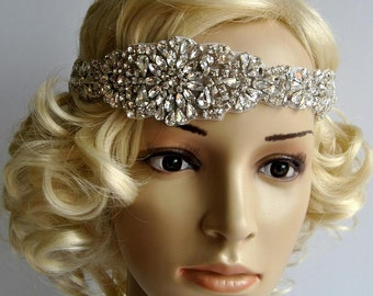 Glamour  Rhinestone Headband, Bridal Headband, Wedding Headpiece, Fascinator, Ribbon tie on Bridal Headband,wedding bridesmaid headband