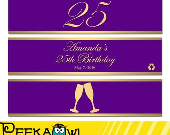 Personalized Champagne birthday water bottle labels - Printable birthday water labels - Gold, Black, Red, Purple, Navy Blue water label!!!