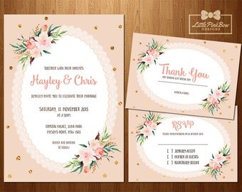 Peach and Gold Floral Wedding Invitation, RSVP, Thank You Card Printable Set, Gold and Peach Floral Wedding Invitation Set