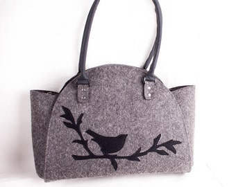 Bird on branch handbag Felt purse Bird bag  Felted bag Felted purse Felt Shoulder bag Grey handbag Designer handbag Messenger bag