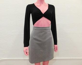 Vintage 90's Pinstripe Print High Waist Knee Length Pencil Skirt - Size Medium