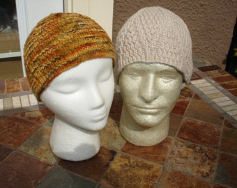 Knit Hat/Beanie/Cap, Wedge textured, Beige/Various colors and fiber