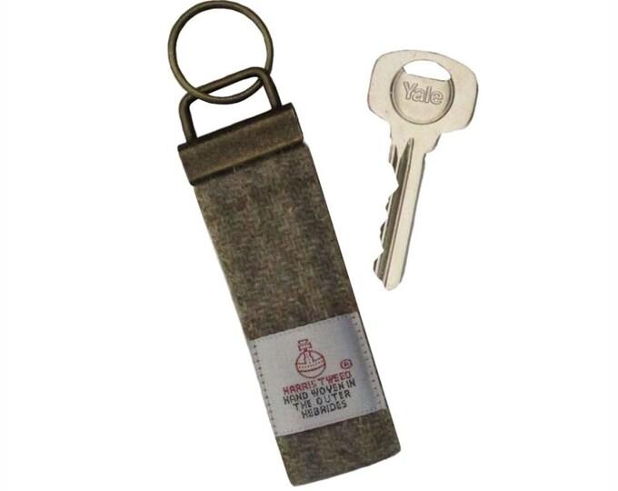 Harris Tweed Beige Tartan Pure Wool Keyring On Chunky Metal Key Fob